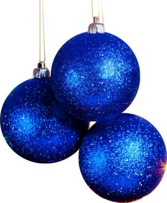 PSD Detail | 3 Blue Christmas Ball Ornaments | Official PSDs